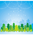 Christmas card with forest of tree vector