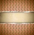 Torn pink ornamental wallpaper vector