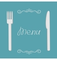 Silver fork and knife menu cover in flat design vector