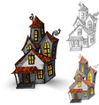 Halloween monsters isolated spooky haunted houses vector