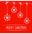 Four hanging snowflakes merry christmas card vector