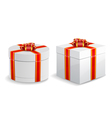 Square and round gift boxes isolated on white vector