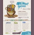Website design template cup of coffee vector