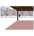 Winter city street scene vector