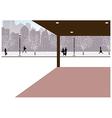 Winter city street scene vector