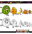 Running fruits cartoon coloring page vector