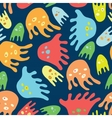 Cartoon octopuses seamless pattern vector