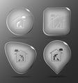 Home cat glass buttons vector