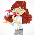 Cute curly haired girl speaks in a megaphone vector