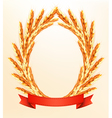 Ripe yellow wheat ears with red ribbons background vector