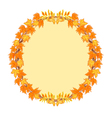 Frame round with autumn leaves rowan and maple vector