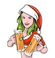 New year girl beer vector