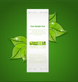 Vertical paper strip with green leaves and drops o vector