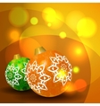 Christmas balls on abstract bokeh background vector