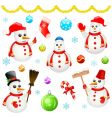 Snowman and christmas objects vector
