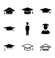 Black academic cap icons set vector