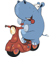 A little hippopotamus and a red motor scooter vector
