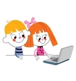 Little boy and girl with laptop computer vector
