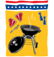 Retro backyard bbq scene vector