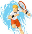 Tennis player holding racket vector