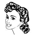 Pop art cute retro woman in comics style vector