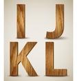 Grunge wooden alphabet letters i j k l vector