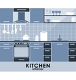 Blue kitchen interior in flat style vector