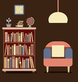 Modern design interior sofa and bookcase vector