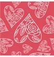 Seamless pattern with heart and flowers vector