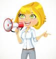 Cute girl talking into a megaphone vector