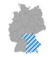 Map of germany with flag of bavaria vector