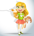 Cute little girl hold toy bunny and ice cream vector