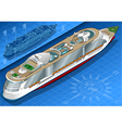 Isometric cruise ship in rear view vector