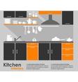 Kitchen interior flat design vector