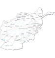 Afghanistan black white map vector