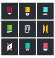 Stationery items icon set vector