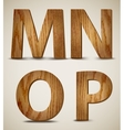 Grunge wooden alphabet letters m n o p vector