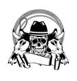 Cowboy and skull bull vector