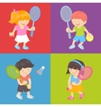 Kids playing tennis vector