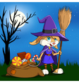 Cartoon halloween bunny vector