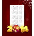 Calendar for 2014 with new year background vector