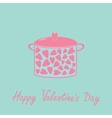 Pot with hearts happy valentines day card pink and vector