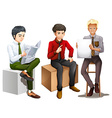 Three men sitting down while reading talking and vector