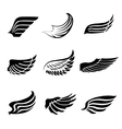 Abstract feather wings icons set vector