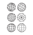 Set of abstract vintage globes vector