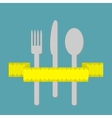 Fork knife and spoon with measuring tape ribbon vector