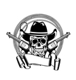 Cowboy and two pistols vector