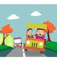 Father and son driving away from the city vector