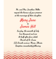 Wedding invitation with zigzag elements vector