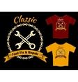 Fix and repair t-shirt template design vector